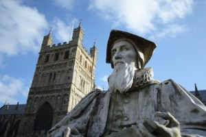 Statue of Richard Hooker on Exeter Cathedral Close.