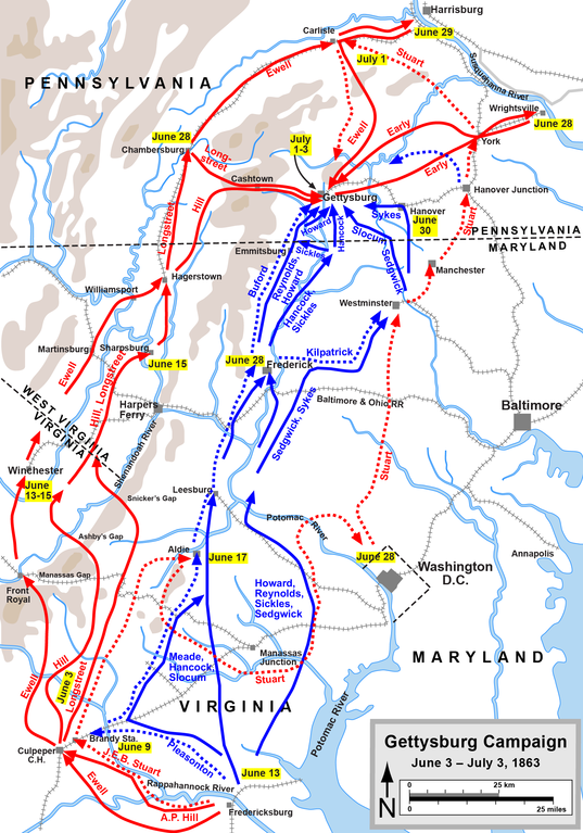 Map of the Gettysburg Campaign (up to July 3, 1863) of the American Civil War.