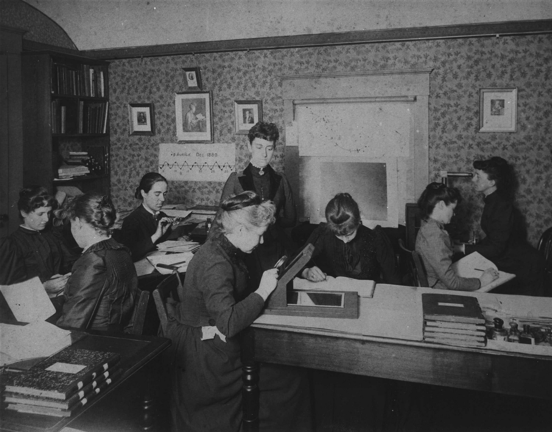 Women 'computers' at the Harvard College Observatory, circa 1890. The group included Harvard computer and astronomer Henrietta Swan Leavitt (1868–1921), Annie Jump Cannon (1863–1941), Williamina Fleming (1857– 1911), and Antonia Maury (1866–1952). Seated, third from left, with magnifying glass: Antonia Maury; standing, at center: Williamina Fleming. (Source: Harvard College Observatory. This work is in the public domain because its copyright has expired).