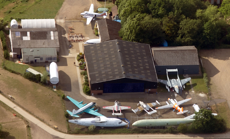 Aerial view of de Havilland Aircraft Heritage Centre.