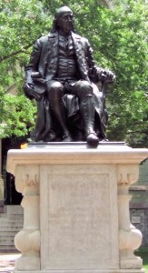 Bronze statue of a seated Franklin created by John J. Boyle in 1899.