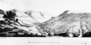 Woodcut showing the &#039;Parallel Roads&#039; on either side of Glen Roy, from Darwin&#039;s 1839 paper.