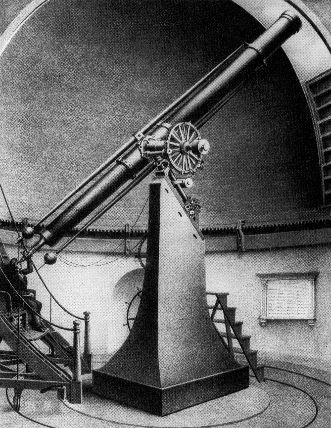Sketch of the 15-inch Great Refractor telescope at Harvard College Observatory (Source: Harvard College Observatory. This is a faithful photographic reproduction of a two-dimensional, public domain work of art. The work of art itself is in the public domain because its copyright has expired).