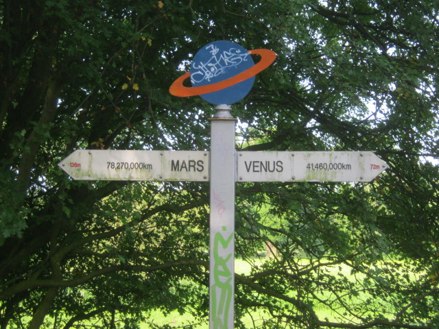 Signpost of the Solar System trail, York to Selby