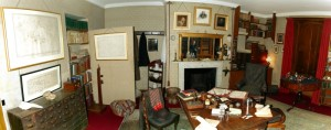 Charles Darwin's study at Down House, restored with original furniture including his wheeled armchair and writing board.