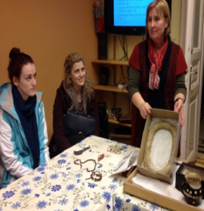 Erika Koltay, Ethnography Museum, showing a bread ring to  our UCL History of Medicine IBSc students.  By Carole Reeves.