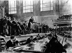 Lord Salisbury denouncing the second Home Rule Bill in the Ulster Hall, 1893.