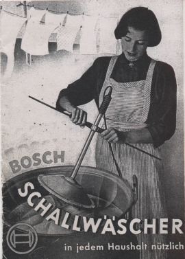 Figure 3: An advertisement for the 'Schallwäscher', a precursor of washing machines invented by Bosch; it was taken off the market when it was found out that women applied the electrical device to their pregnant bellies in order to abort. The caption reads 'Useful in every household'…