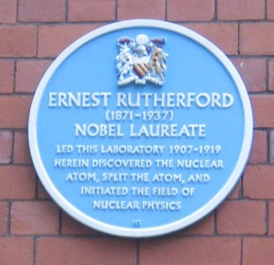 Plaque on the wall of the 1900 Physics Laboratory (Rutherford Building).