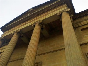 Columns of the neo-classical building housing the main collections of Swansea Museum