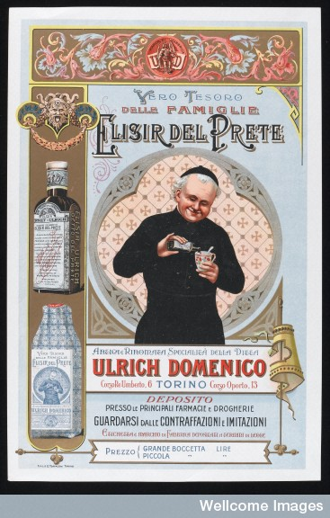 L0046066 A priest pouring Elisir del Prete into a cup