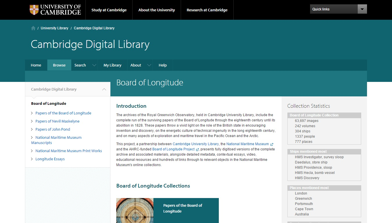 Board of Longitude Papers (Cambridge University Library)