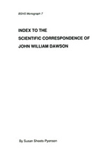 Index to the Scientific Correspondence of John William Dawson