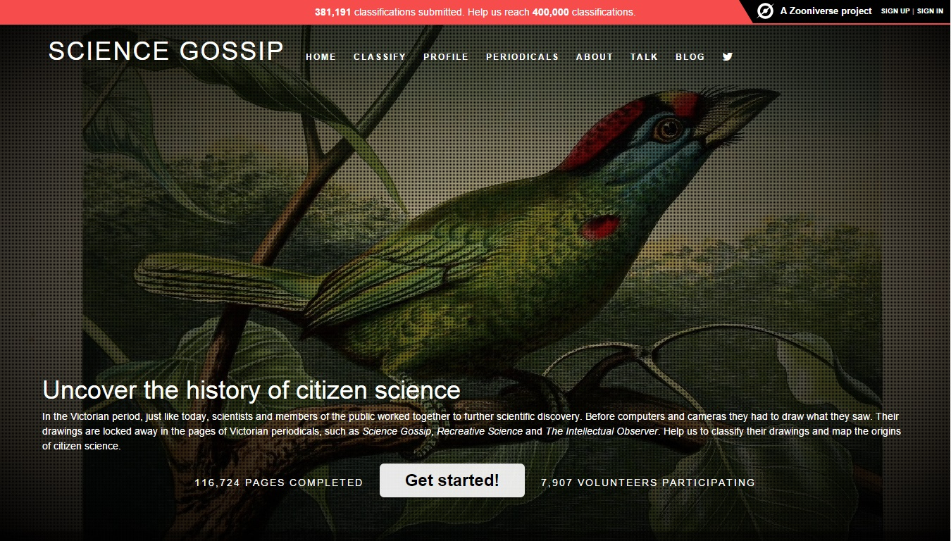 Science Gossip (University of Leicester/Missouri Botanical Garden/Zooniverse Project)