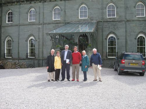 The Duke of Argyll, his family, and guests outside Inveraray Castle