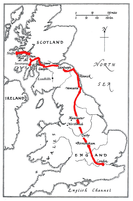 Smithson's group's route to Staffa
