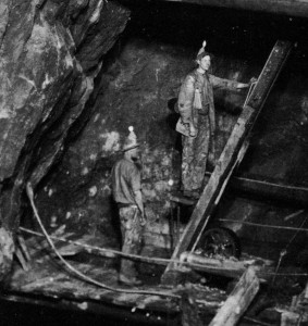 A flash photograph of the Man engine at Dolcoath Mine, Cornwall, 1893