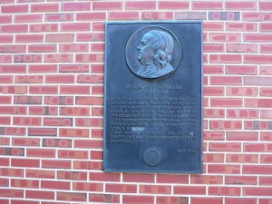 Franklin Wall Plaque at the corner of Fourth and Arch Streets, Philadelphia