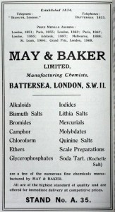 May and Baker advertisement, 1922