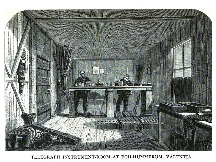 Inside the Telegraph Station at Valencia, taken from Dodd, G. (1868). <em>Railways, steamers and telegraphs; a glance at their recent progress and present state</em>. London, Chambers, 300. Image available in the public domain.