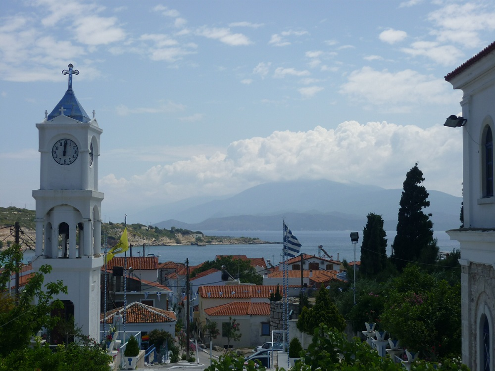 View from Pythagorio with Greek flag