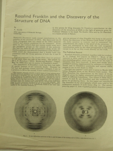 Rosalind Franklin images and texts from the  Churchill College Archives.