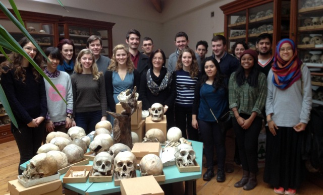 Ildiko Pap (centre) amidst UCL's History of Medicine IBSc students at the Natural History Museum, Budapest. By Carole Reeves.