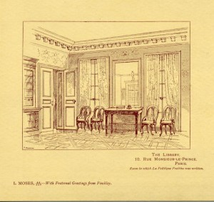 An illustration of the Comte library noted as the room in which La Politique Positive was written