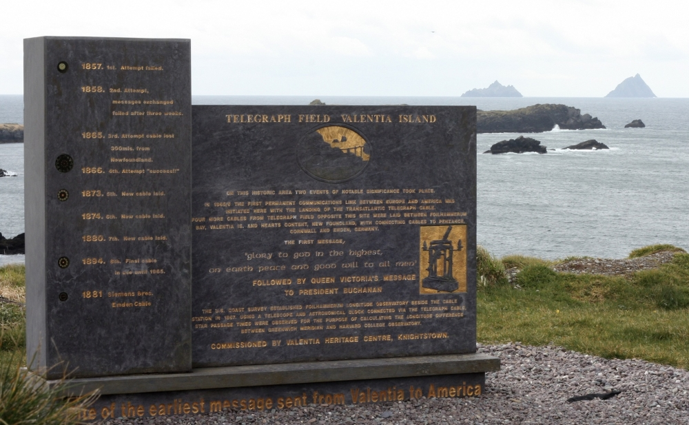 A monument celebrating the cable at site of the original Telegraph Station at Valencia, Foilhomurrum Bay.