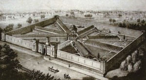 The State Penitentiary for the Eastern District of Pennsylvania, Lithograph by P.S: Duval and Co., 1855