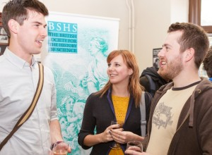 Staff and students at the post-lecture reception at the University of Leeds