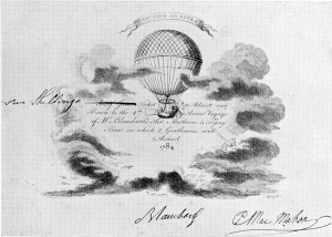 Signed admission ticket for Blanchard Balloon ascent from Chelsea, October 16, 1784. Courtesy of the Wellcome Library, London.
