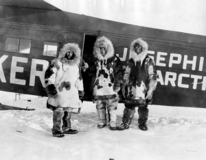 Polar technologies in action: (L-R) George Noville, Richard Byrd, and Floyd Bennet at King's Bay, Spitsbergen, May 1926. Source: Byrd Polar Research Center Archival Program, Box 214, Folder 7742.